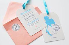 Custom made travel themed wedding save the date cards by www.makeadesign.fi / Matkateemaiset Save the date -kortit / MakeaDesign / Häät / Hääkutsu / Wedding invitations