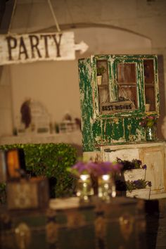 Country, vintage, flowers, dish cabinet.     www.couturerentals.com.mx