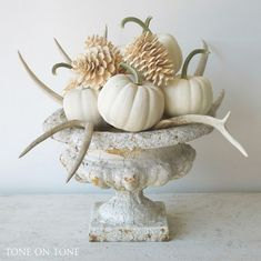 Chic fall decor table centerpiece with white pumpkins pine cones and antlers Do you love getting in the fall spirit but hate tacky fall decor? Don't worry, I have the best fall home decor that will create a totally chic space! Decoration Bedroom, Decoration Table, House Decorations, Autumn Decorating, Pumpkin Decorating, Decorating With White Pumpkins, Decorating Ideas, Decorating With Deer Antlers, White Pumpkin Decor