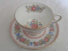 Shelley Tea Cup and Saucer Pompadour Pattern Pink 13516 Mint | eBay