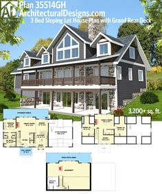 Architectural Designs #HousePlan 35514GH, Perfect For Your Rear Sloping Lot.  Over 3,200