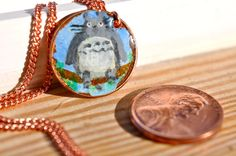 Hand Painted Penny Coin Necklace Totoro by LaurenxJoy on Etsy, $22.00