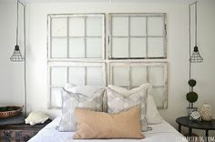 Middle guest bedroom makeover - lizmarieblog.com Love the window panes as a headboard