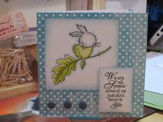 Card made for a baby's naming day with LOTV stamps