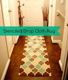 How To Make A Stenciled Drop Cloth Rug from Lovely Crafty Home {DIY Saturday at A Cultivated Nest}