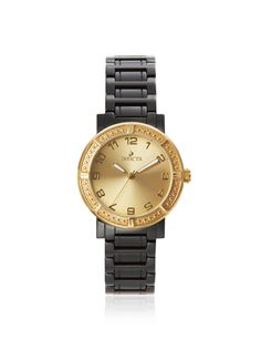 Invicta Women's 14899 Ceramics Black/Gold Watch High-shine ceramic bracelet with stainless steel case back, textured bezel surrounds sunburst dial with Arabic numerals and luminous hands; manufacturer 1-year limited warranty # # #