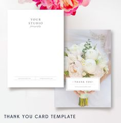 Photographer Thank You Card Templates - Photo Marketing - Wedding Photographer Templates - Photoshop Templates by ByStephanieDesign on Etsy