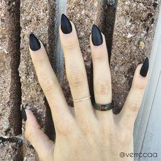Matte Black Stiletto Nails Full Set by ClawsByMorganJoyce on Etsy
