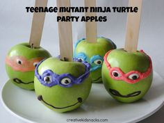 Teenage Mutant Ninja Turtle Apples - cute for a Ninja Turtle kids birthday party!