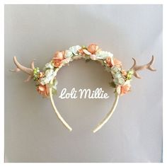 Antler Floral Headband deer fawn woodland whimsical wedding fantasy... ❤ liked on Polyvore featuring accessories, hair accessories, head wrap headbands, vintage bridal headband, vintage hair accessories, deer headband and headband hair accessories