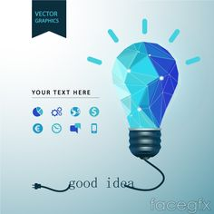 Blue light bulb business information maps vector