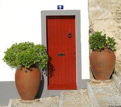 Portugal, Portuguese, Entrance, Planter Pots, Burgundy, Doors, Santa Maria, Gates, Image