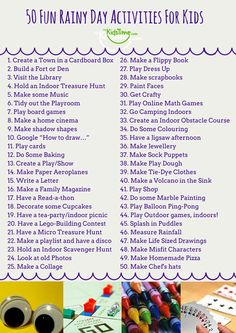 50 Fun Rainy Day Activities For Kids Checklist - Rain got you cooped up inside again? Looking for rainy day activities for kids? Fear not, we have a - Nanny Activities, Rainy Day Activities For Kids, Rainy Day Fun, Toddler Activities, Things To Do With Kids On A Rainy Day, Rain Day Activities, Camping Activities, Camping Games, Babysitting Activities For Boys Indoor Games