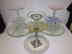 Antique glassware repurposed into jewelry stand
