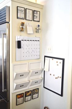 Organize one small space in your kitchen with these simple tricks for a family command center Got room on the side of our refrigerator? Get organized with a few items from Homegoods, Staples, and Goodwill. a kitchen command center was born! Command Center Kitchen, Family Command Center, Command Centers, Family Message Center, Small Space Organization, Home Office Organization, Organization Ideas, Family Organization Wall, Small Space Storage