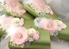 Bridesmaids Bridal Clutches with Satin Flowers Vintage by SolBijou, $450.00