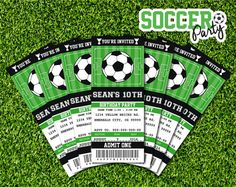 Soccer Birthday Ticket Invitation Party Printable as a PDF file for you to print at home, or at a local print shop. Buy once, and print as many