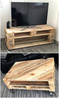 Handcrafted Pallets Wooden Recycling Ideas - When it comes to renovation, reusing wood pallet ideas are best choice to have new furniture at low - Pallet Furniture Tv Stand, Pallet Tv Stands, Pallet Furniture Designs, Pallet Designs, Tv Stand Made Out Of Pallets, Diy Pallet Projects, Pallet Ideas, Wood Projects, Wood Ideas