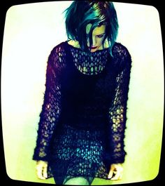 Hand Knitted Black MOHAIR JUMPER holey punk rock steampunk gothic control UNISEX