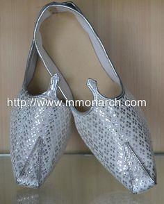 7e124551be33 Wonderful designer mens wedding mojari made in silver cream color brocade  fabric. Indian Groom Wear