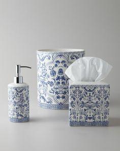"""3rd Floor, Blue Subway Tile Bathroom, """"Orsay"""" Vanity Accessories by Kassatex at Neiman Marcus."""