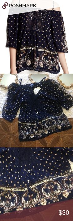 """New Angie Navy Blue Floral Cold Off Shoulder Top Angie cold shoulder top. Navy blue. NWT. Size small. Pit to Pit: 18"""" Pit to Sleeve: 9"""" Pit to Hem: 17"""" Angie Tops"""