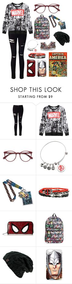"""Superhero Geek"" by evey-rose116 on Polyvore featuring Miss Selfridge, WithChic, EyeBuyDirect.com, Converse, Marvel, Funko and Loungefly"