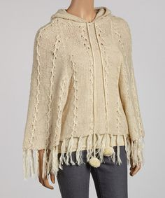 Take a look at this Beige Pom-Pom Hooded Poncho by SR Fashions on #zulily today!