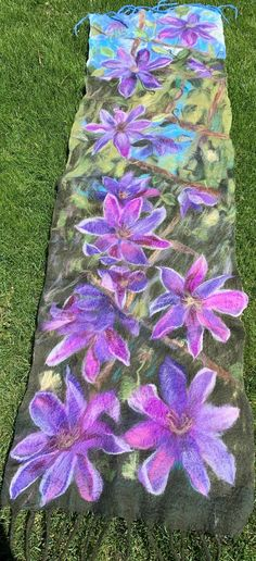 Felted Scarf, Felt Art, Summer Garden, Needle Felting, Wearable Art, Wool Felt, Merino Wool, Poppies, To My Daughter