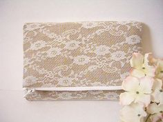 Burlap And Lace Fold Over Clutch - Bridal Clutch Bag - Rustic Clutch Bag - Bridesmaid Gift - Maid of Honor - Lace Clutch - Burlap Clutch Bag by SewSouthwest on Etsy