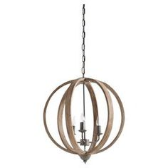 "Pairing timeless style with arcadian appeal, this eye-catching pendant showcases an open fir wood shade and candle-style lights.   Product: PendantConstruction Material: Fir wood and metalColor: BrownAccommodates: (3) 25 Watt E12 bulbs - not includedDimensions: 22"" H x 20"" W x 25"" DCleaning and Care: Wipe clean with a dry cloth 266 J&M"