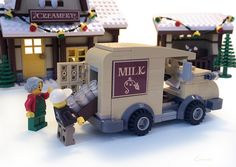 ~ The Winter Village Creamery ~ This local creamery has all your dairy needs. Milk, a wide variety of cheeses, butter, and. Grandpa takes Sam . Lego Christmas Sets, Lego Christmas Village, Lego Winter Village, Lego Village, Lego Gingerbread House, Gingerbread Christmas Decor, Interlocking Bricks, Lego Sculptures, Lego Boards