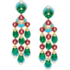 Bulgari earrings with turquoise, emeralds, spinels, and diamonds.