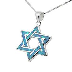 Opal and silver star of david