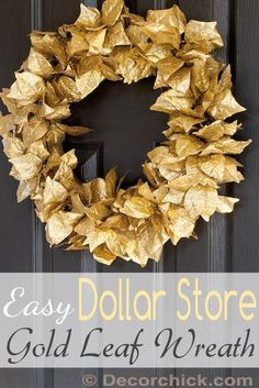 Dollar Store Gold Leaf Wreath Tutorial | www.decorchick.com