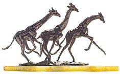 Artwork by Tienie Pritchard, Three Giraffes, Made of bronze on a marble base Giraffes, Magazine Art, Art Market, Marble, Auction, Bronze, Base, Sculpture, Artwork
