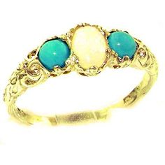 Ladies Solid White Gold Natural Opal & Turquoise English Victorian Trilogy Ring - Size - Finger Sizes 5 to 12 Available Engagement Rings Under 1000, Three Stone Engagement Rings, Beautiful Engagement Rings, Vintage Engagement Rings, Promise Ring For Girls, Promise Rings For Girlfriend, Girlfriend Gift, Promise Rings Pandora