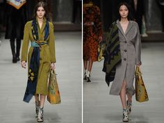 Burberry Prorsum Fall 2014 I WANT THE OUTFIT ON THE LEFT.  I love scarves, and well, I just love the whole look.  <3
