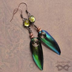 Iridescent Green Beetle Wing Dangle Earrings With by beadmask, $21.00
