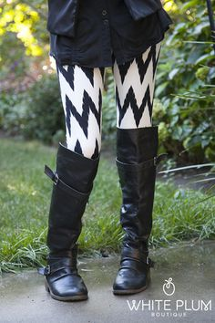 Chevron Black and White Leggings   White Plum Boutique