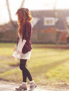 baggy cardigan, frilly dress and socks, with oxfords