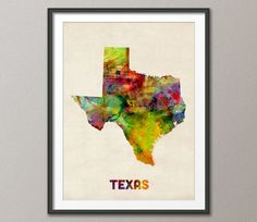 Texas Watercolor Map USA, Art Print 18x24 inch (347) from Artpause Etsy shop