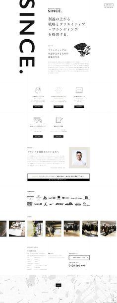 ブランディングカンパニー SINCE. Website Design Layout, Web Layout, Layout Design, Minimal Web Design, Name Card Design, Typographic Design, Landing Page Design, Branding, Web Design Inspiration