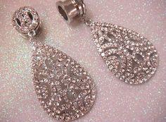 PROM Rhinestone Dangle Ear PLUGS / 5-14mm / dangle plugs Rhinestone chandelier drop tunnels and silver crystal wedding ear plugs gauges