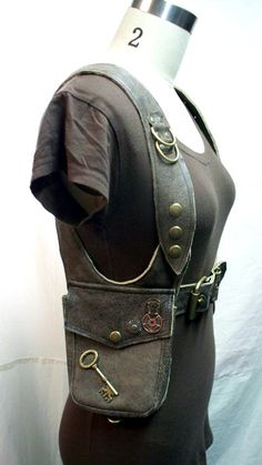 Darkwear Unisex Distressed Brown Leather Double Holster Bag w Gears Shoulder Bag Utility bag made to order. $185.00, via Etsy.
