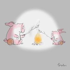 A sketch in honor of National Toasted Marshmallow Day. Find a good stick and a friend to sit with. And graham crackers and a chocolate bar.