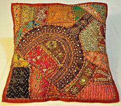 Handmade Indian Mirror Work Pillow Dark Red by JaipurHandloom, $12.99