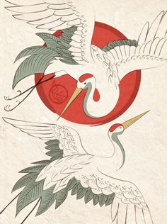 """Cranes"" by Kat Davis ""Cranes"" by Kat Davis: Japanese style cranes // Buy prints, posters, canvas and framed wall art Japanese Drawings, Japanese Tattoo Art, Japanese Painting, Japanese Prints, Japanese Wall Art, Japanese Art Styles, Chinese Prints, Japan Illustration, Framed Wall Art"