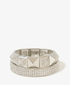 Rhinestone Pyramid Bracelet Set | FOREVER21 - 1000047587