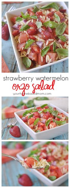 Strawberry Watermelon Orzo Salad is full of lots of fun flavors and texture and is so pretty! I Love Food, Good Food, Yummy Food, Orzo Salad, Soup And Salad, Easy Dinner Recipes, Breakfast Recipes, Cooking Recipes, Healthy Recipes